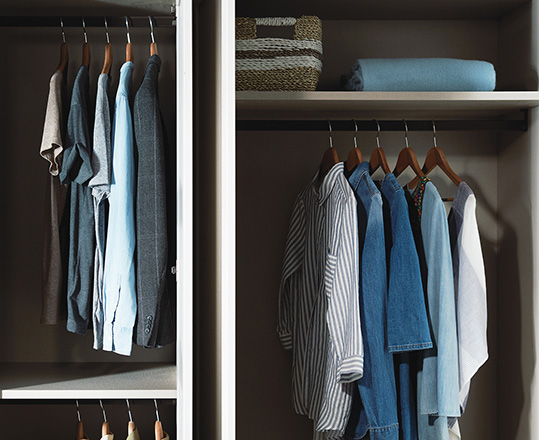 Internal wardrobe storage features different storage solutions for different items