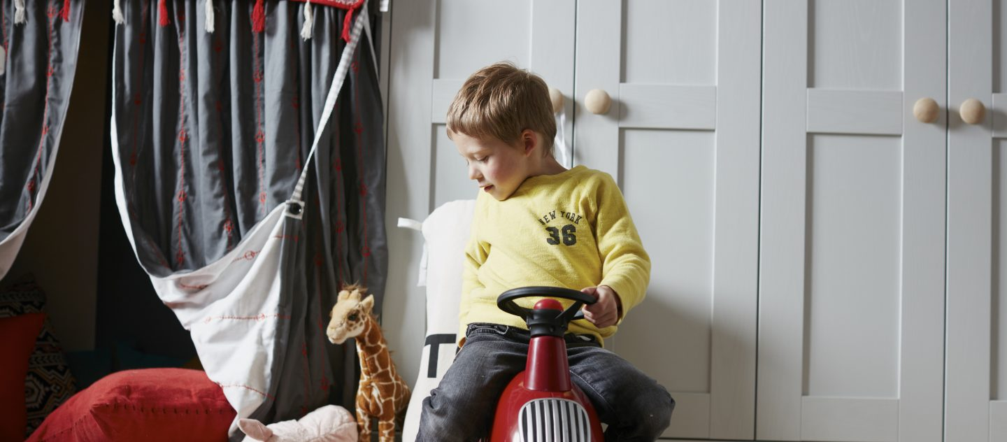 A close up of the Origin Style 4 Range with a boy on a toy car as featured in the English Home Magazine