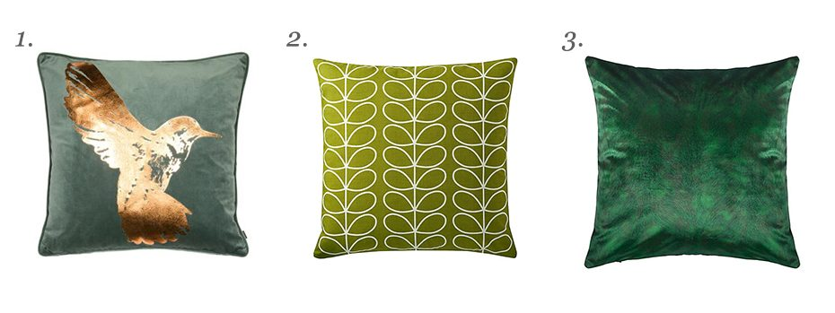 A mood board style image made up of three different cushions which feature in the text below.