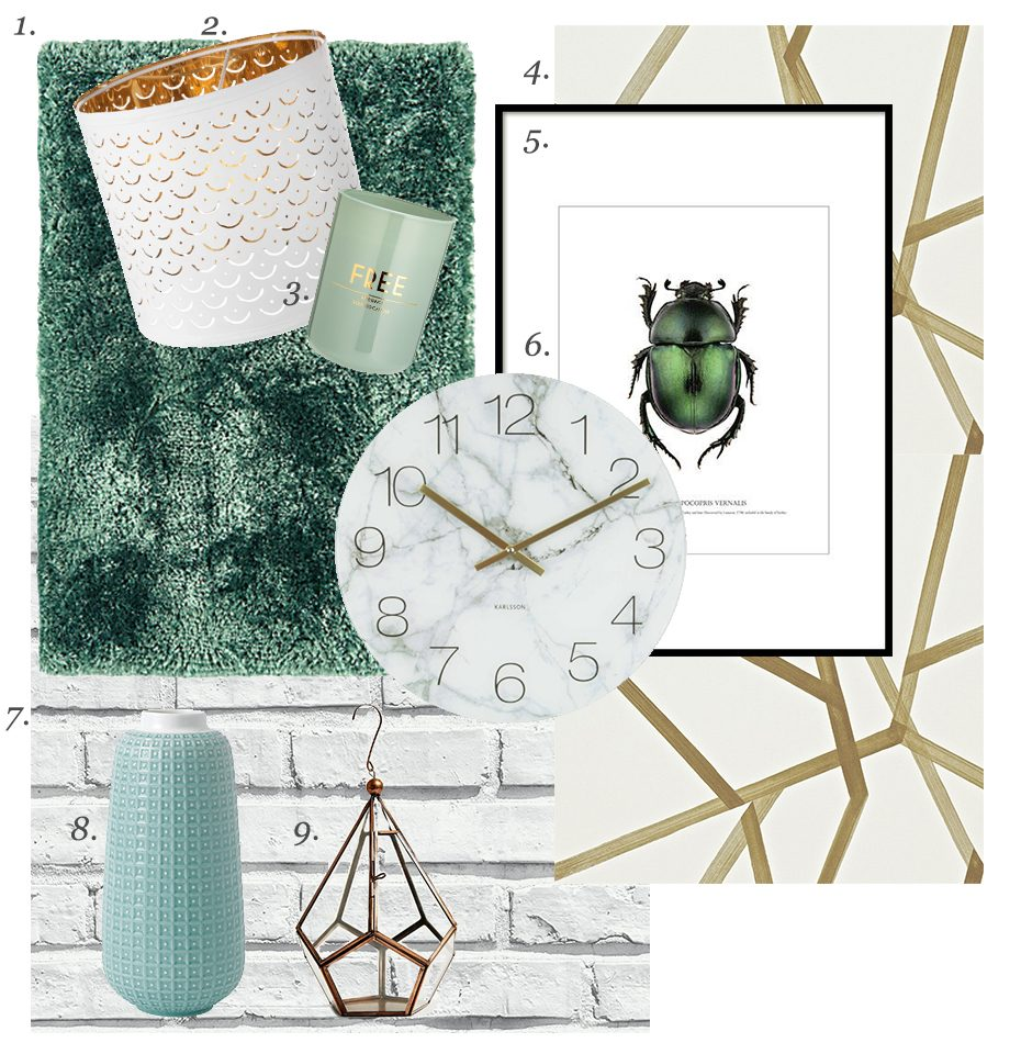 A moodboard style image made up of different products which feature in the text below.