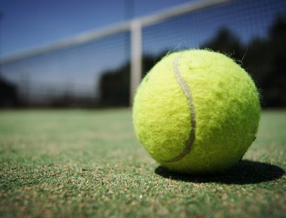 Tennis ball on court for Wimbledon party