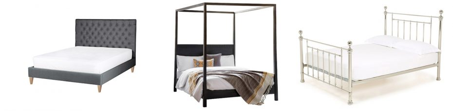 How to choose a bed moodboard style image featuring three different bed frames next to each other, the first is a grey upholstered bed frame, the second is a dark brown wooden four poster bed and the third is a silver metal framed bed.
