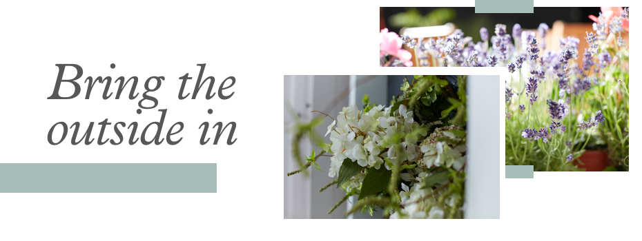 a mood board style image featuring the text 'bring the outside in' and some photographs of flowers.