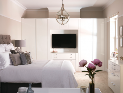 Stress-free Bedroom: a photograph from our Flow Style 1 range showing the full room including the bed and internal furniture.