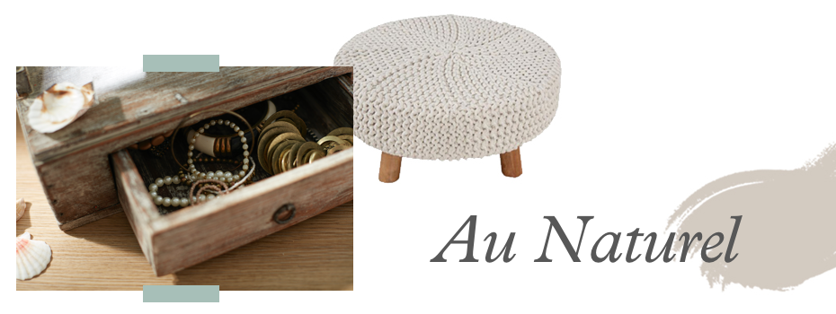 a mood board style image featuring the text au naturel next to a photograph of a footstool, and a jewellery box.