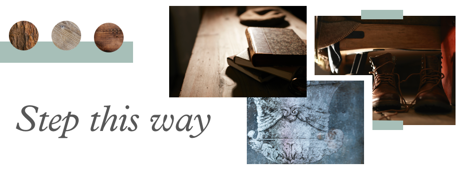 a mood board style image featuring the text step this way and imagery from the sculpt range featuring wooden floors and 3 swatches of different coloured woods.